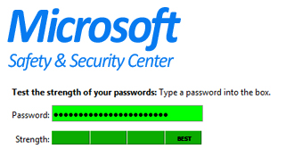 Check your password strength with Microsoft Safety & Security Center